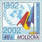 Flag of Moldova and the Emblem of the UNO