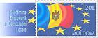 Flag of the Republic of Moldova Surrounded by European Circle of Stars