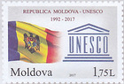 Flag of Moldova and the Emblem of UNESCO