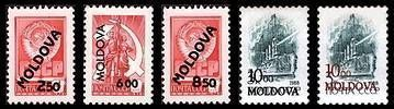 USSR Stamps Overprinted «MOLDOVA» and Surcharged