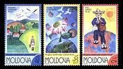 № - 446-448 - World Post Day 2002 - Childrens Drawings: «Post Expands Horizons»