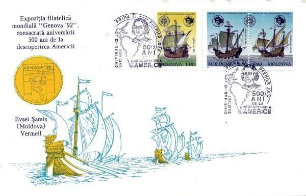 Cachet: Ships and «Genova 92» Medallion - Text: Black. Drawings: Gold and Blue