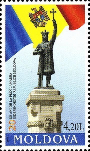 State Flag of the Republic and the Statue of Ștefan cel Mare in Chişinău