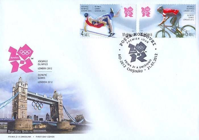 Cachet: Emblem of the Games and the Tower Bridge in London