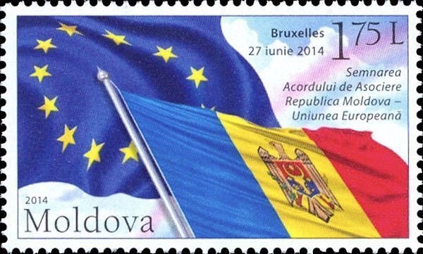 Flags of the European Union and the Republic of Moldova