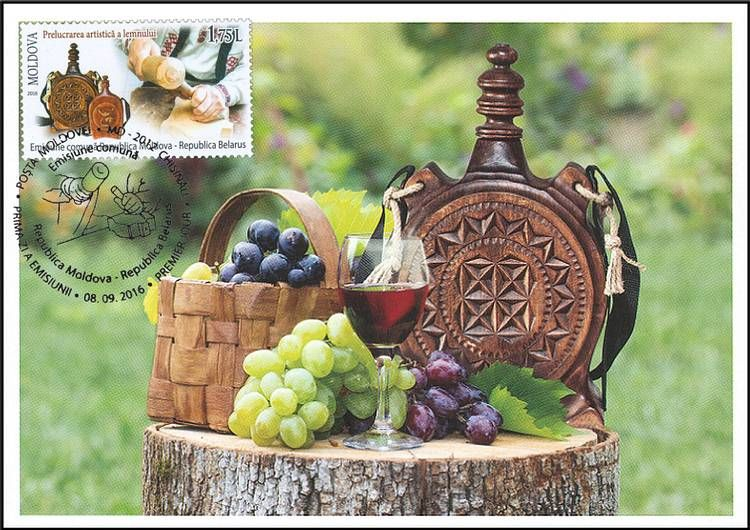 Carved Wooden Flask, Wine and Grapes