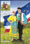 Man and Woman Wearing Traditional Gagauz Costumes. Flag of Gagauzia